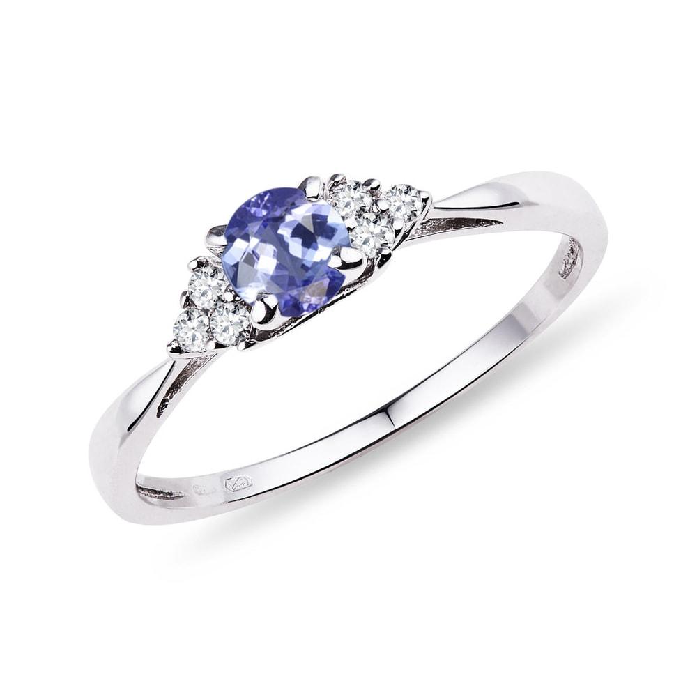 E-shop Zlatý prsten s tanzanitem a diamanty
