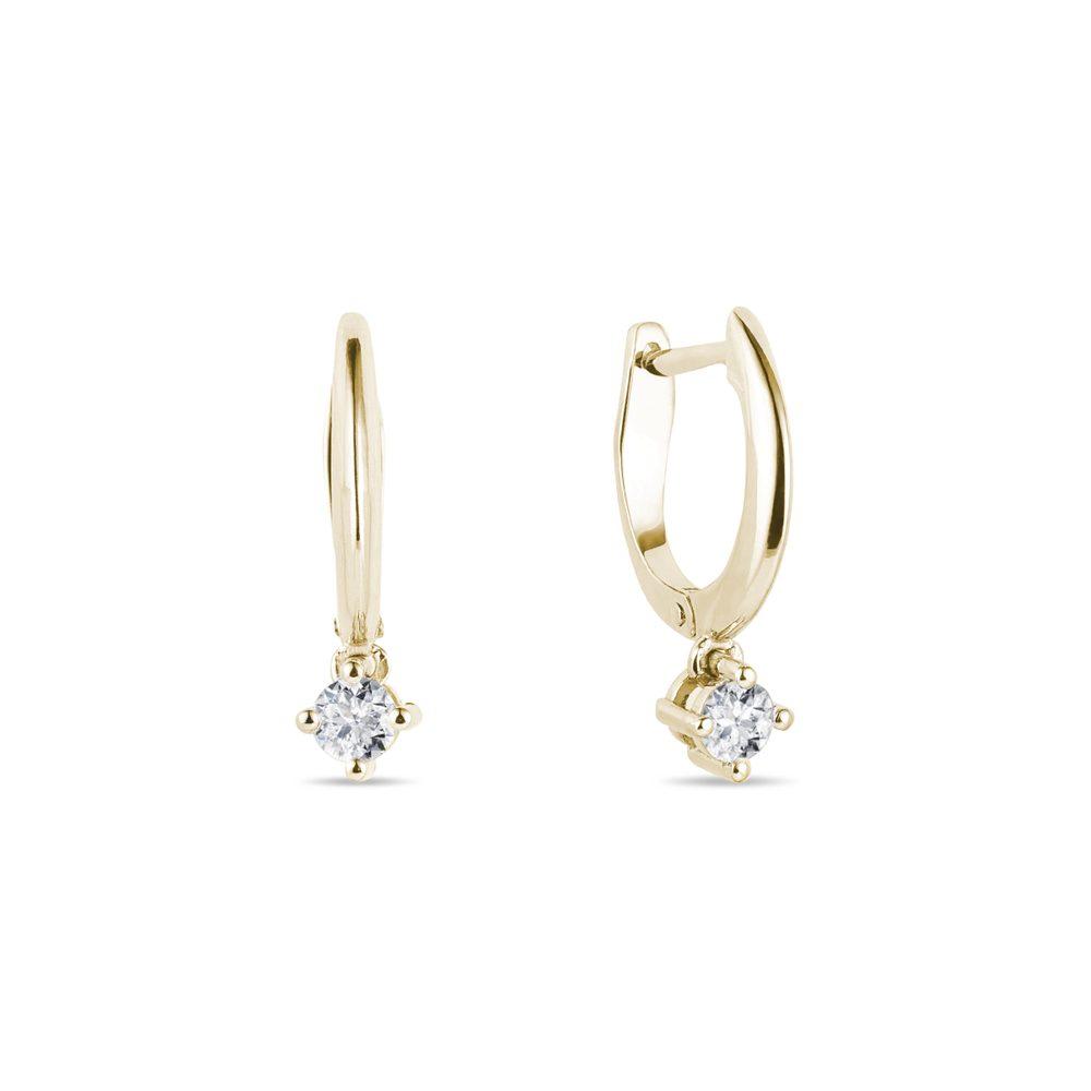 Náušnice ze žlutého zlata s diamanty KLENOTA