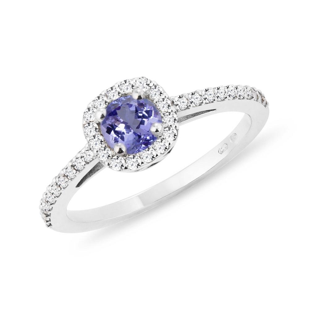 Zásnubní prsten s tanzanitem a diamanty KLENOTA