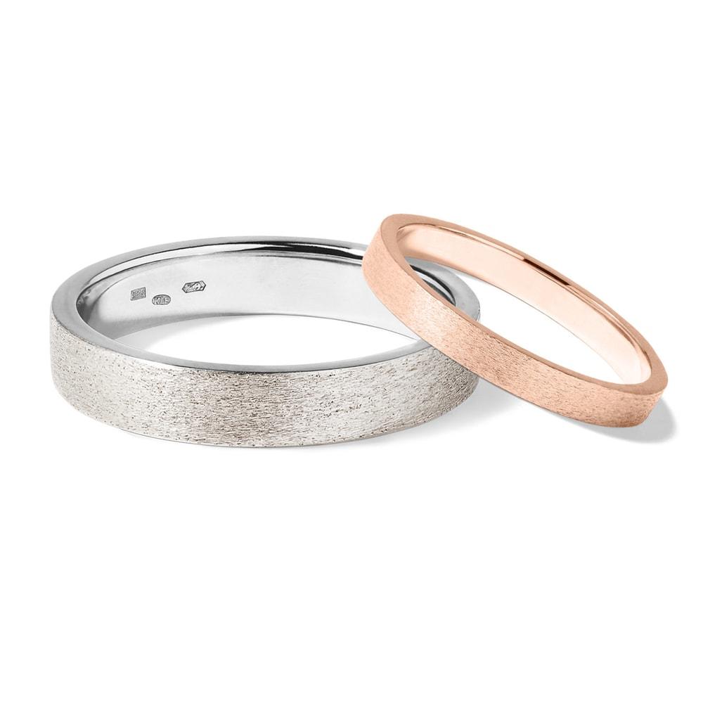Levně Snubní prsteny z růžového a bílého zlata
