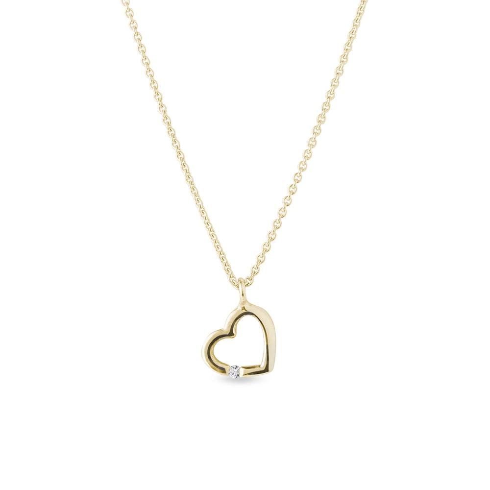 E-shop Diamantový přívěsek srdce ve žlutém zlatě