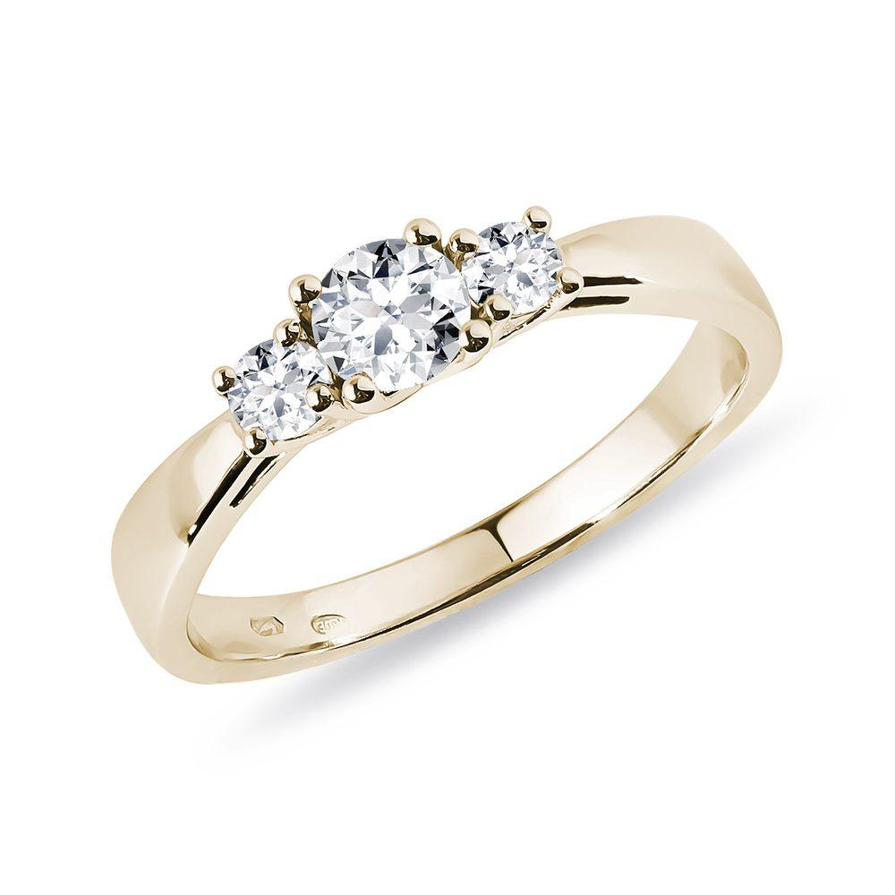 Diamantový zásnubní prsten ze žlutého zlata KLENOTA