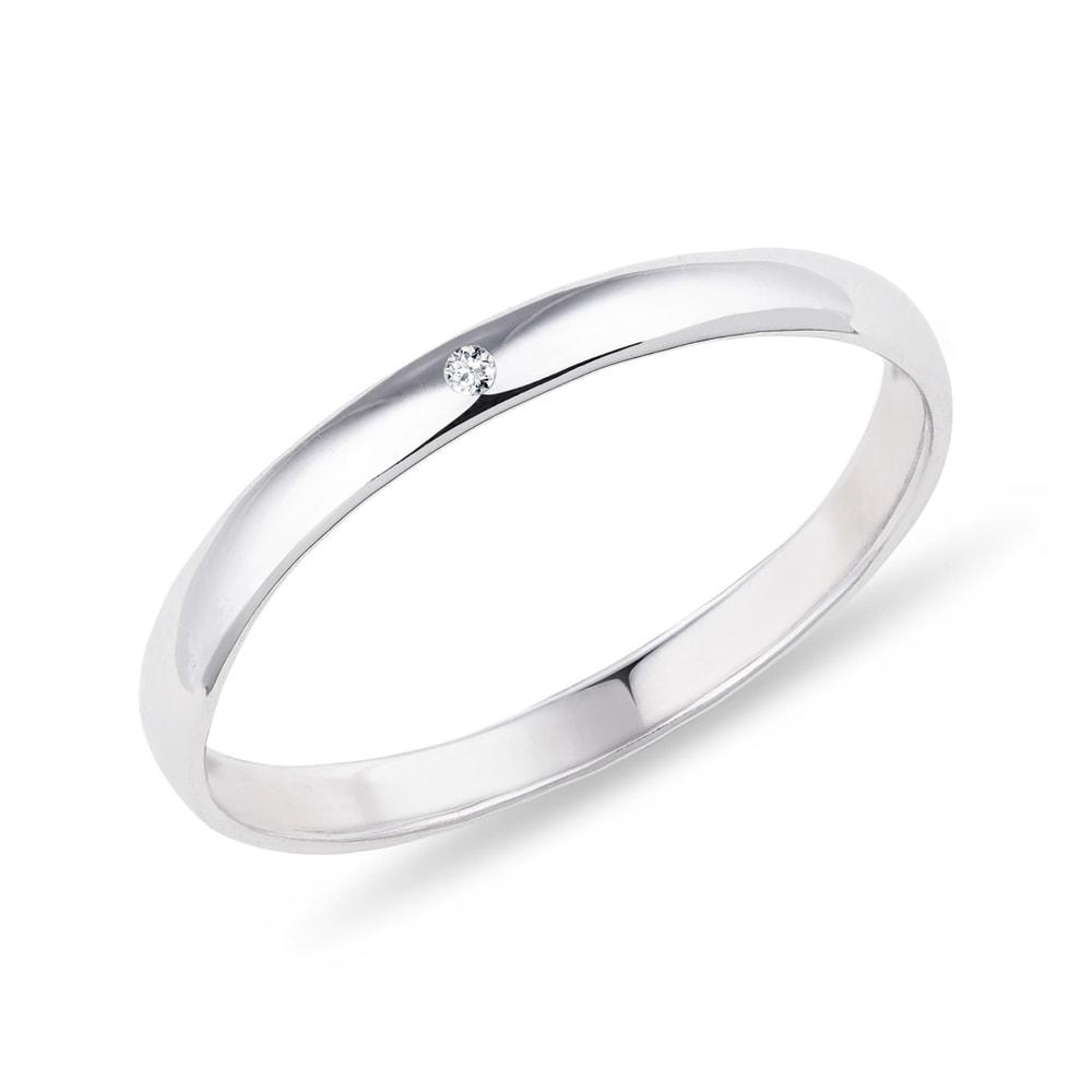 Prsten z bílého zlata s briliantem KLENOTA