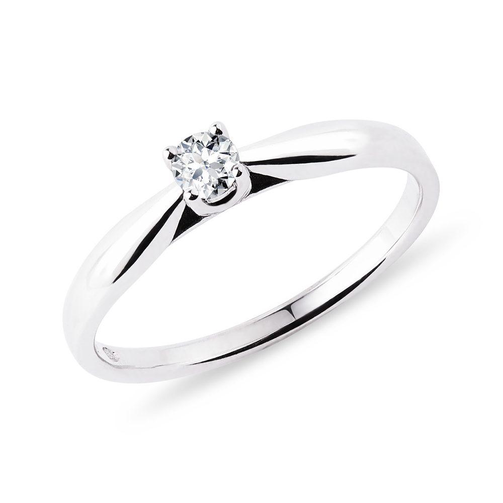 Stříbrný prsten s briliantem KLENOTA