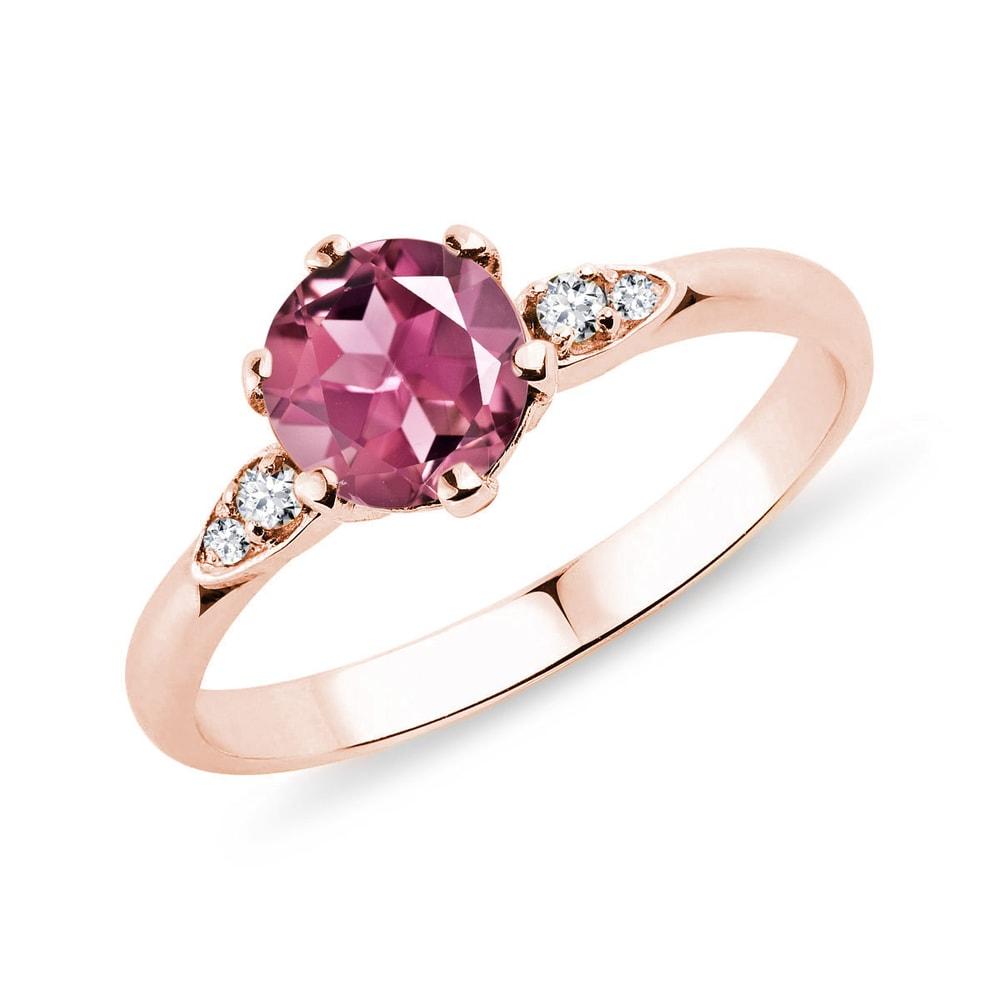 Prsten z růžového zlata s turmalínem a brilianty KLENOTA