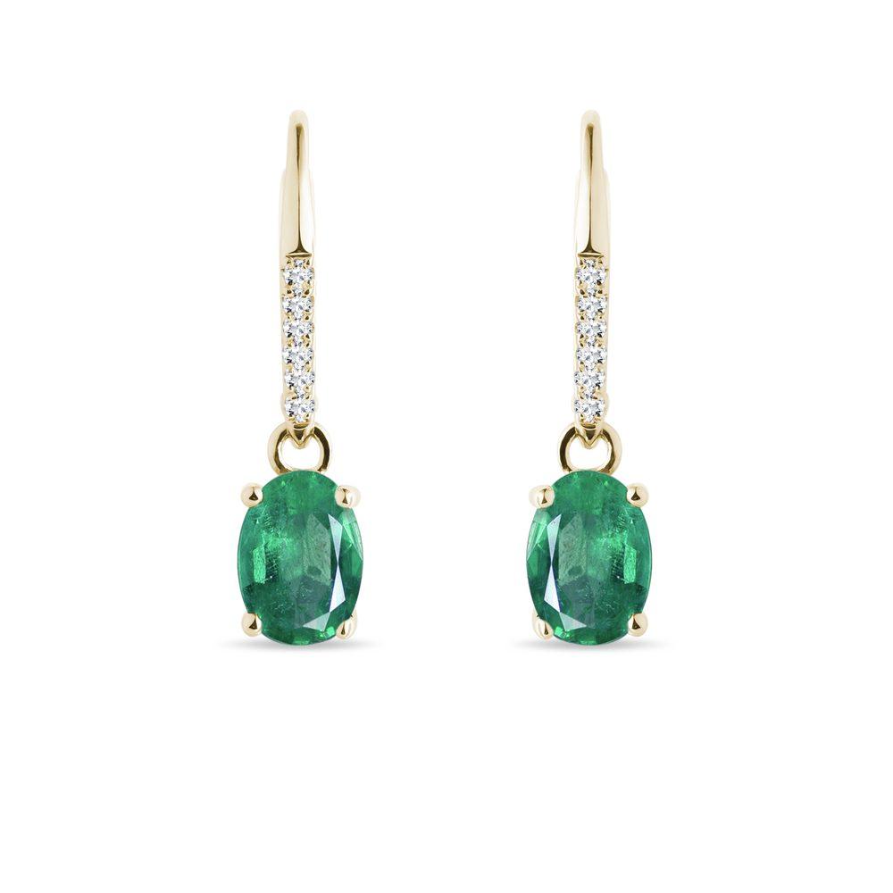 Zlaté náušnice se smaragdem a diamanty KLENOTA