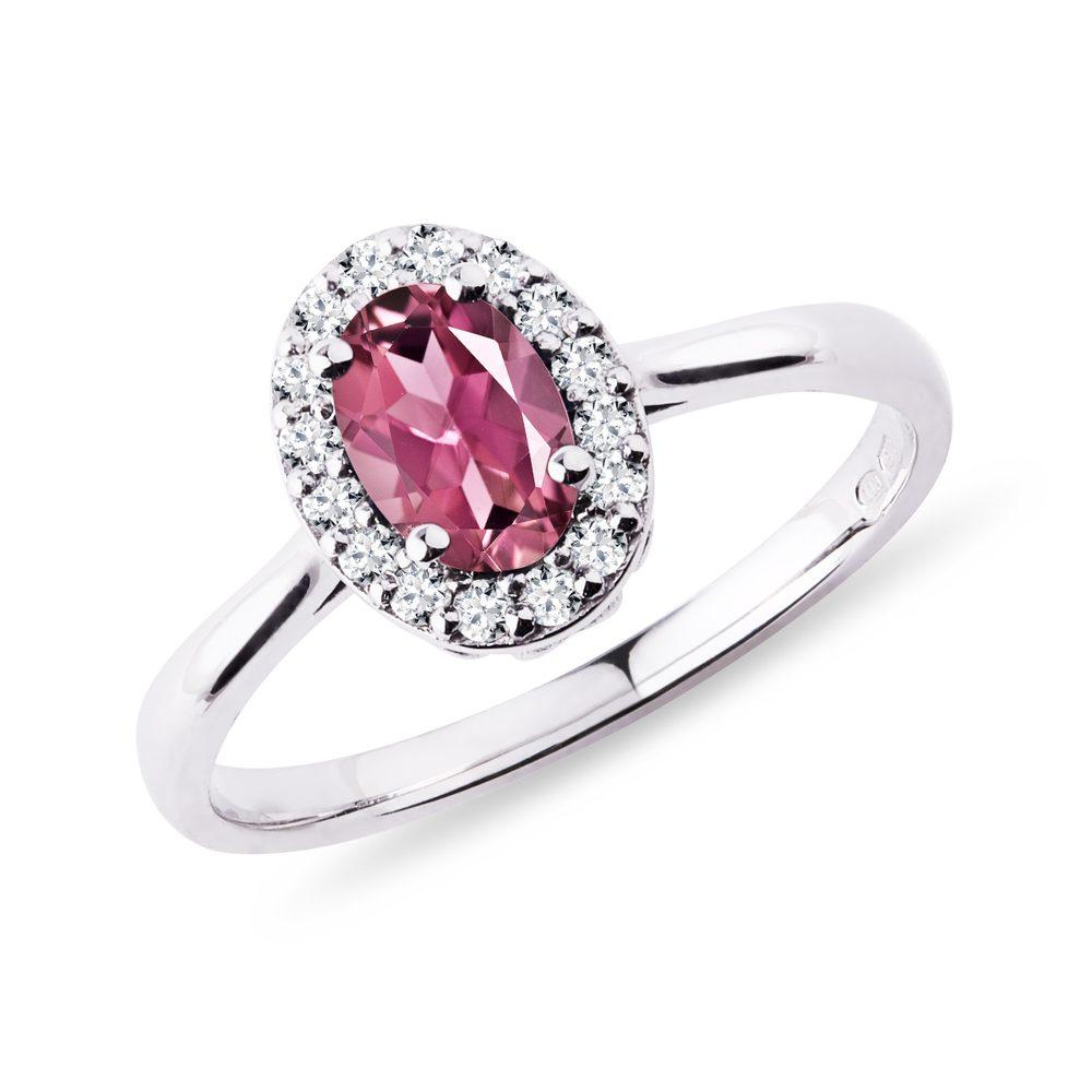 Romantický zlatý prsten s turmalínem a diamanty KLENOTA