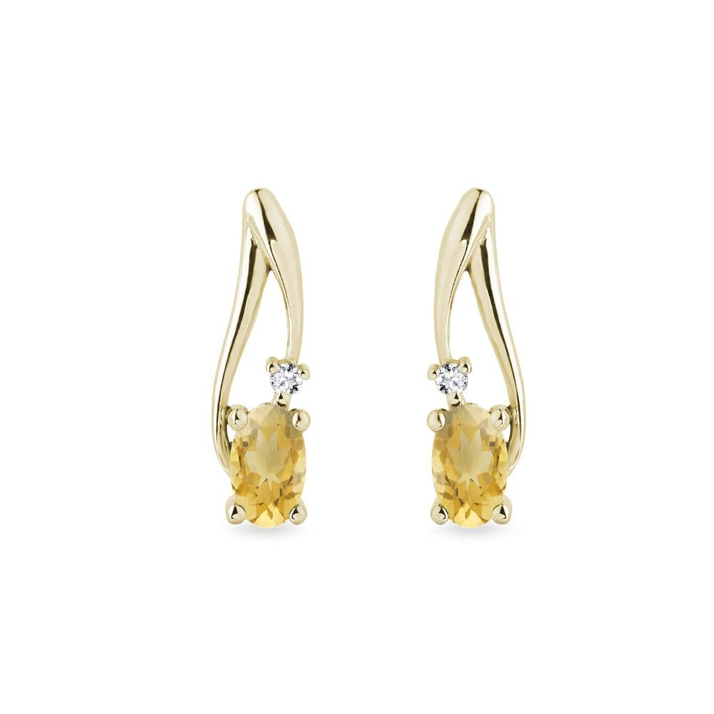 Zlaté citrínové náušnice s diamanty KLENOTA