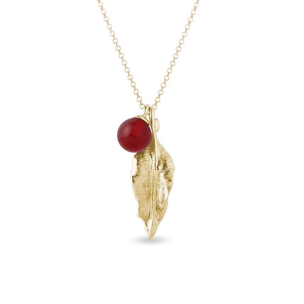 Zlatý náhrdelník s karneolem a lístkem KLENOTA