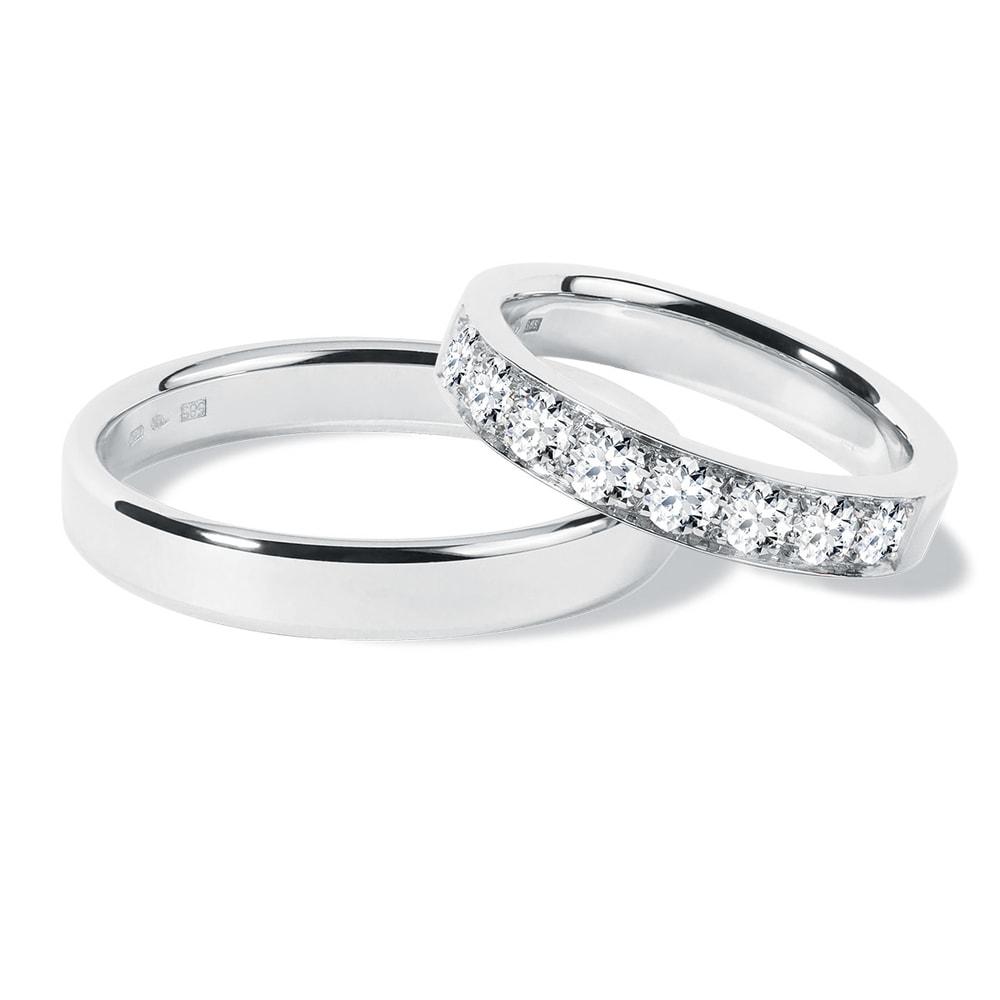 Snubní prsteny v bílém zlatě s diamanty KLENOTA