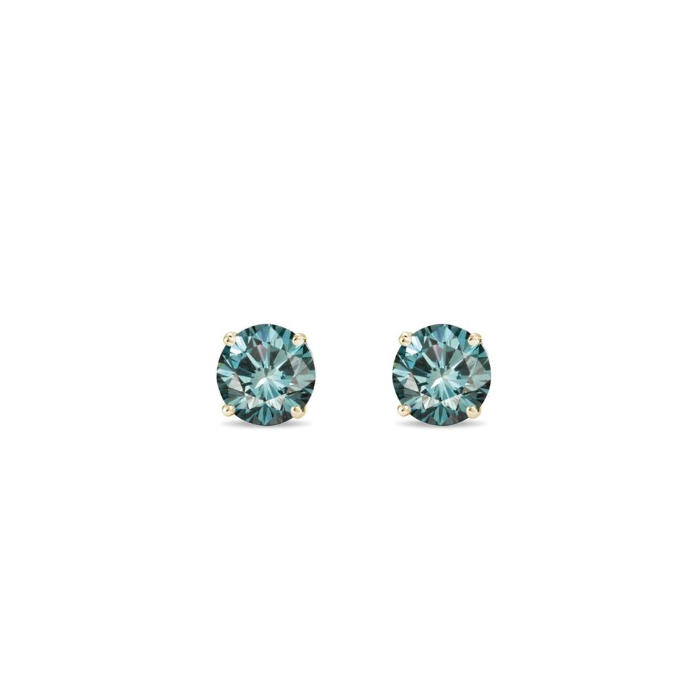 E-shop Modré diamantové pecky ze žlutého zlata