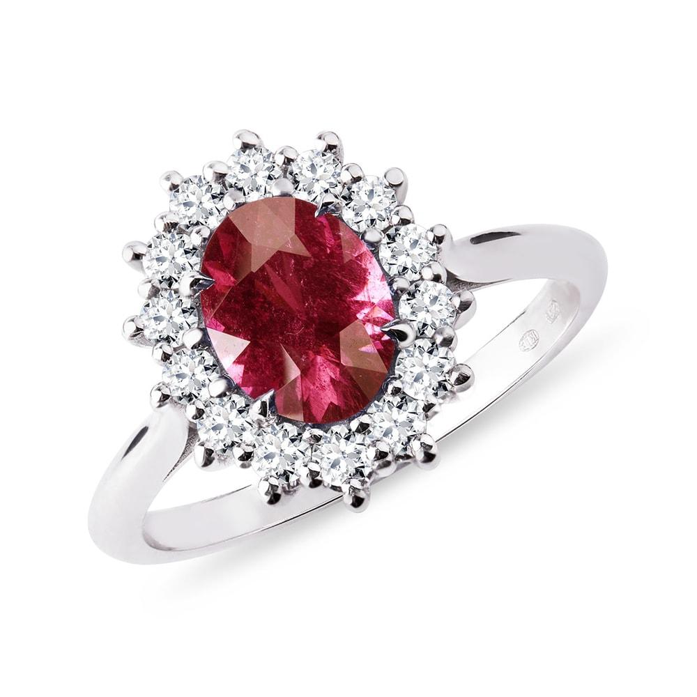Prsten s turmalínem a brilianty v bílém zlatě KLENOTA