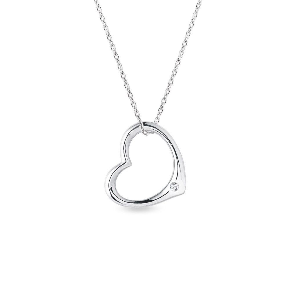Stříbrný náhrdelník ve tvaru srdce KLENOTA
