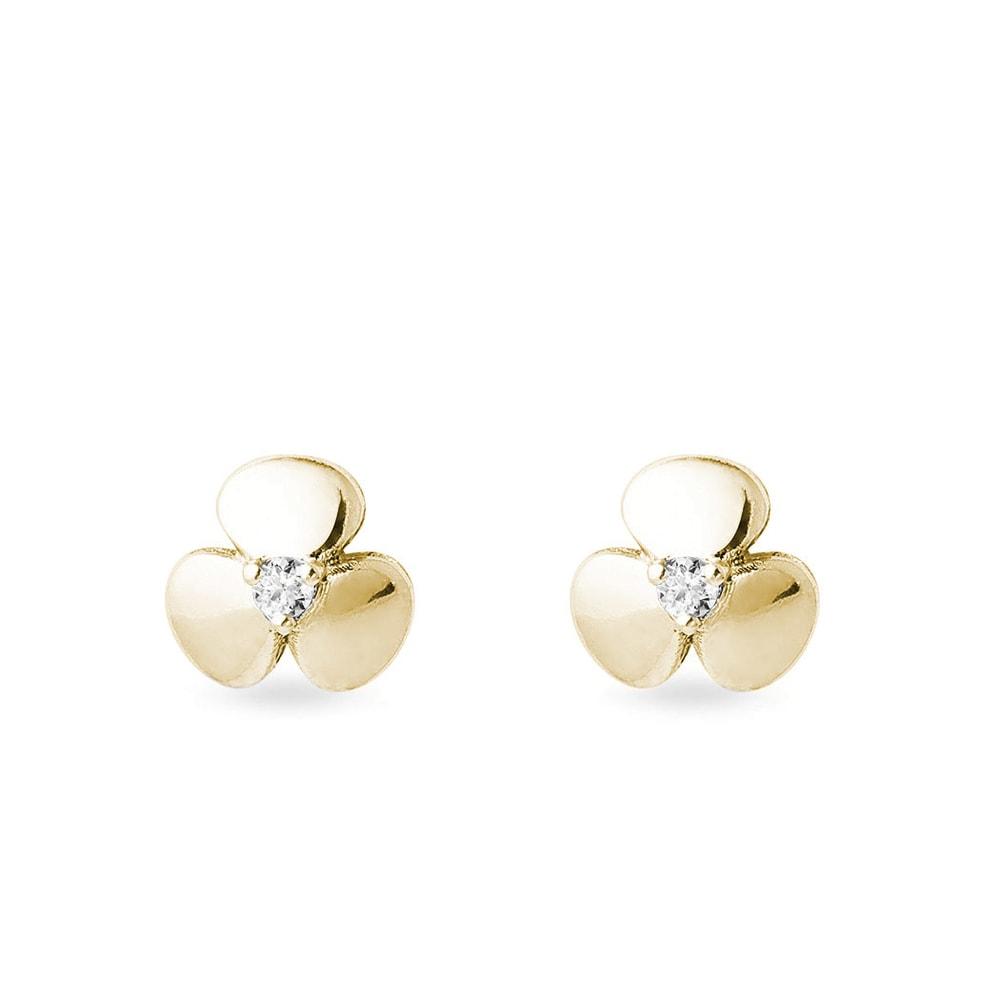 Zlaté náušnice trojlístky s diamanty KLENOTA