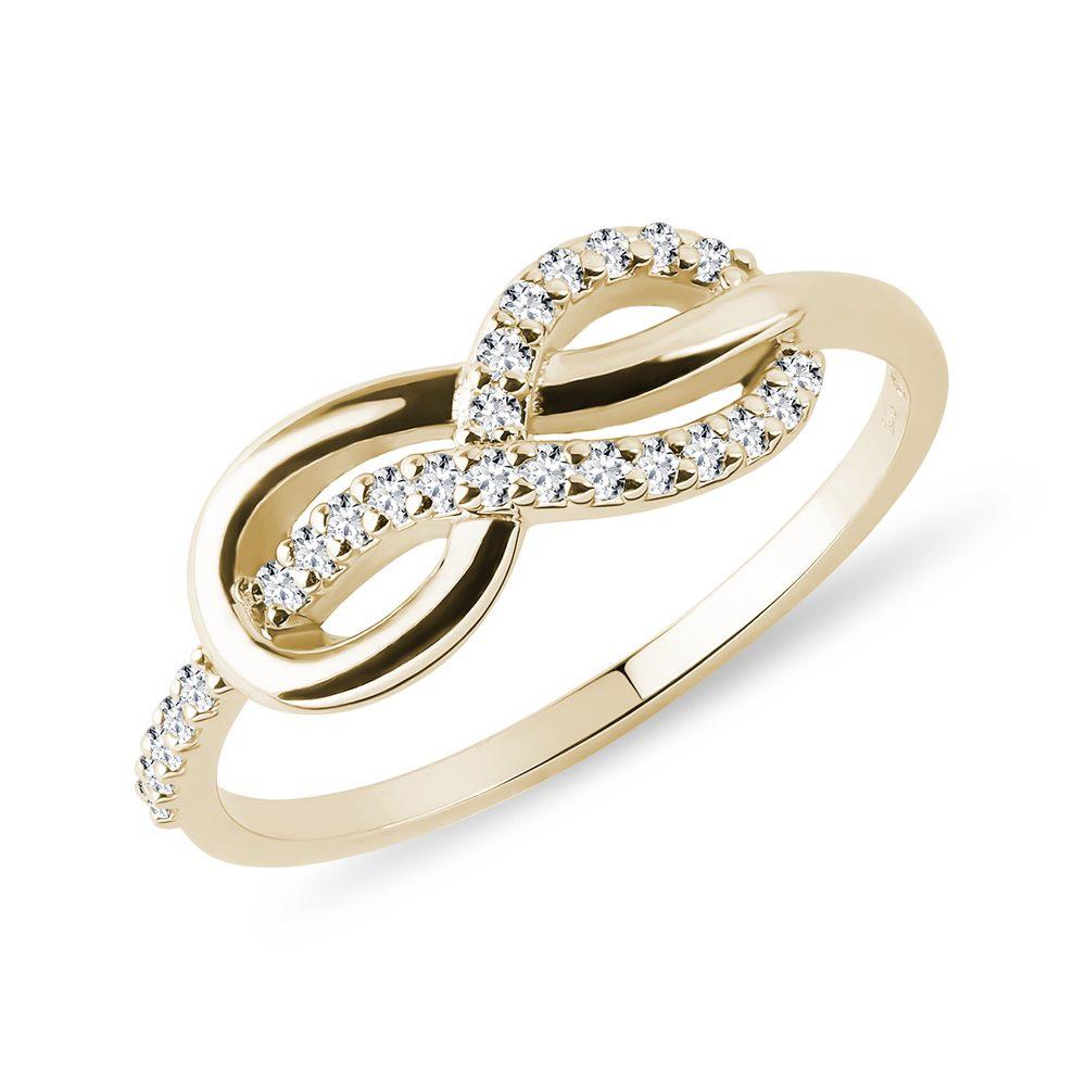 Zlatý prsten Nekonečno s diamanty KLENOTA