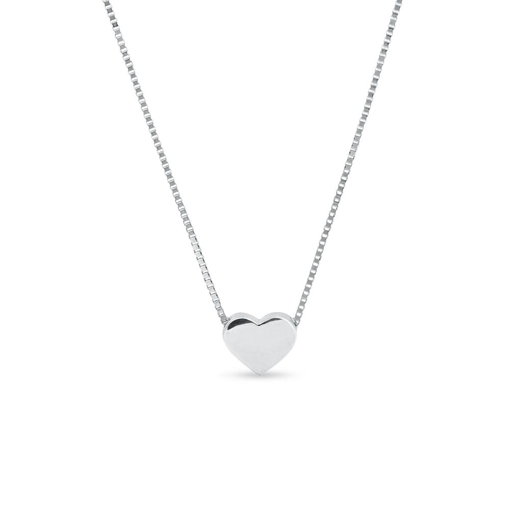 ca6b68fb0 Náhrdelník srdiečko z bieleho zlata | KLENOTA