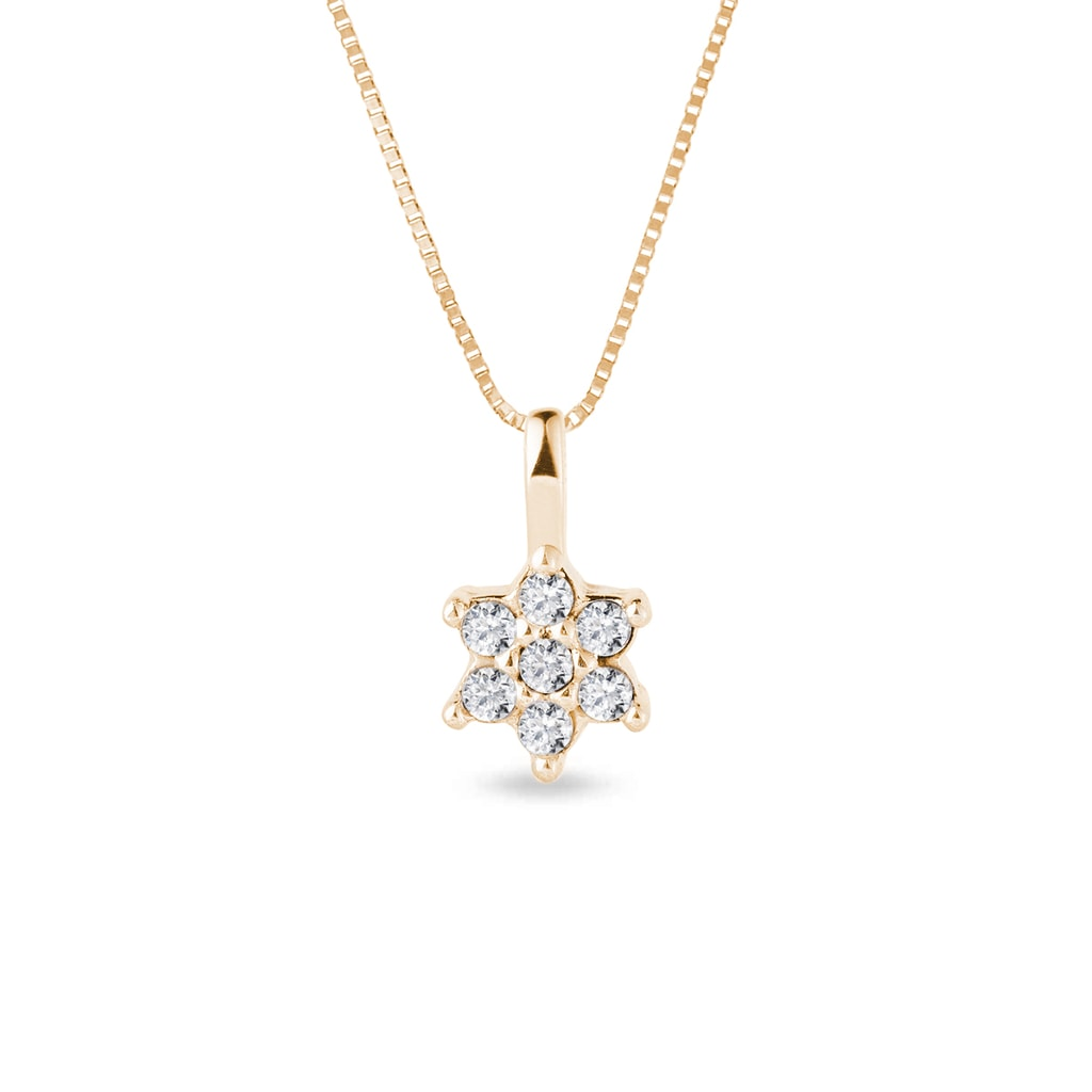 Flower Shaped Diamond Necklace In Yellow Gold Klenota