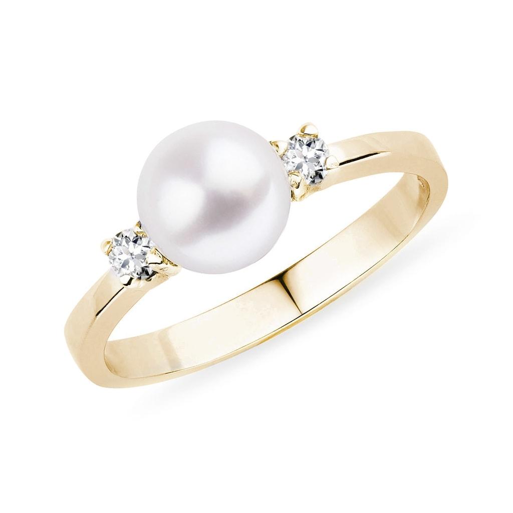 b08ec9eca Zlatý prsten s akoya perlou a diamanty   KLENOTA