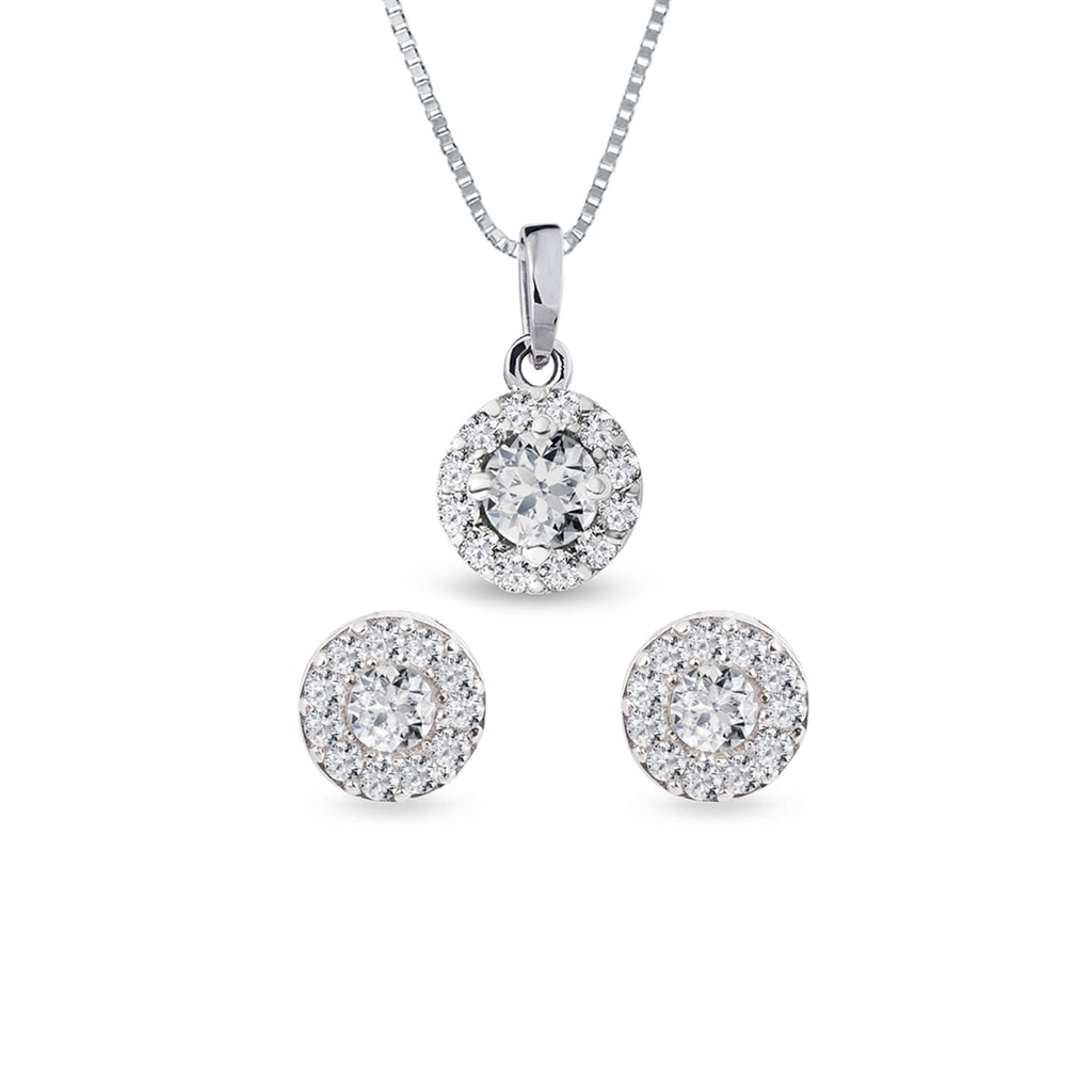 Diamond Halo Earring And Necklace Set In White Gold Klenota