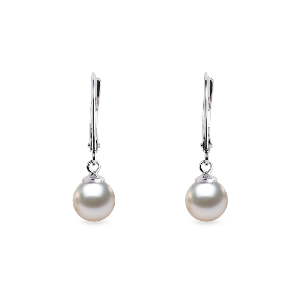 bfd5c1c92c4d21 Akoya pearl drop earrings in white gold | KLENOTA