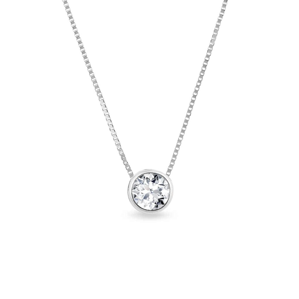 d98055e20 Náhrdelník z bieleho zlata s diamantom | KLENOTA