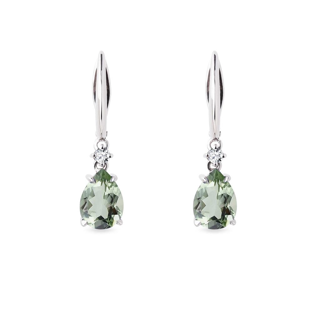 Green Amethyst Earrings In White Gold