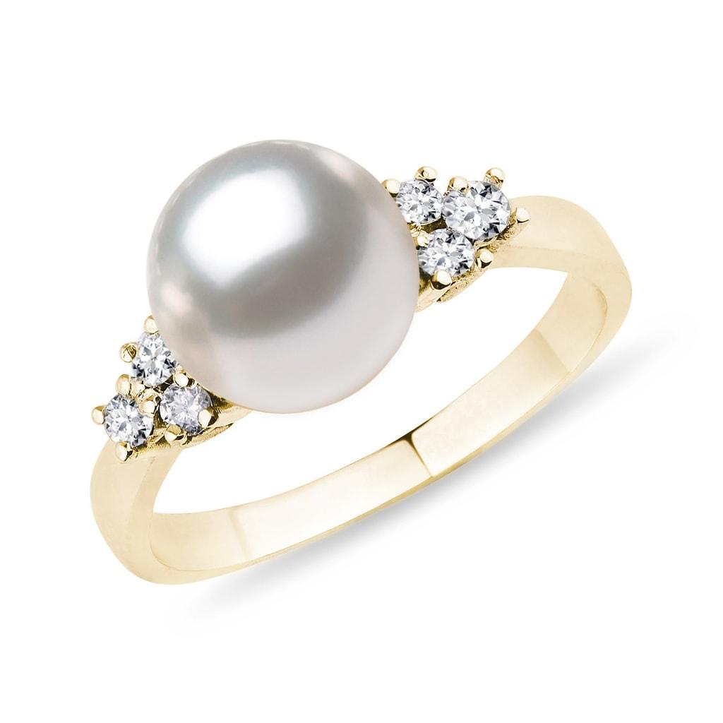 0b212586c Zlatý prsten s perlou a diamanty   KLENOTA