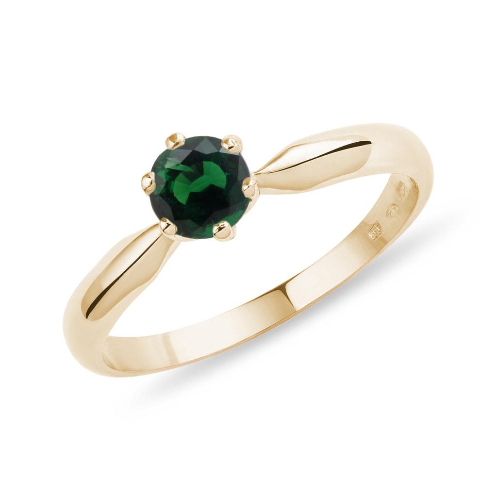 e55f783c9 Zlatý prsteň s okrúhlym tsavoritom | KLENOTA