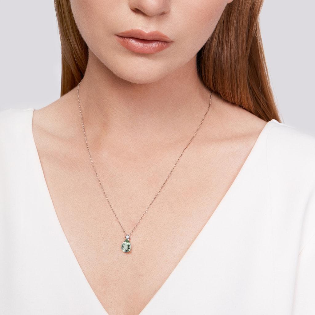 Amethyst /& Morganite Gemstones Silver Chain Pendant Necklace Round Cut Unique
