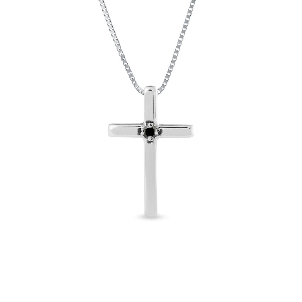 Round Real Diamond Cross Pendant Necklace 14K Gold Over 0.01Ct Valentine's Day