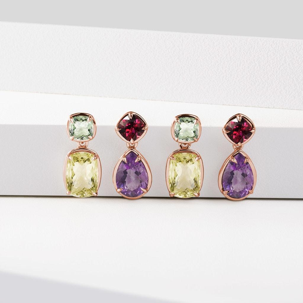 14K White Gold Dangle Earrings With Cushion Cut Green Amethyst Gemstones