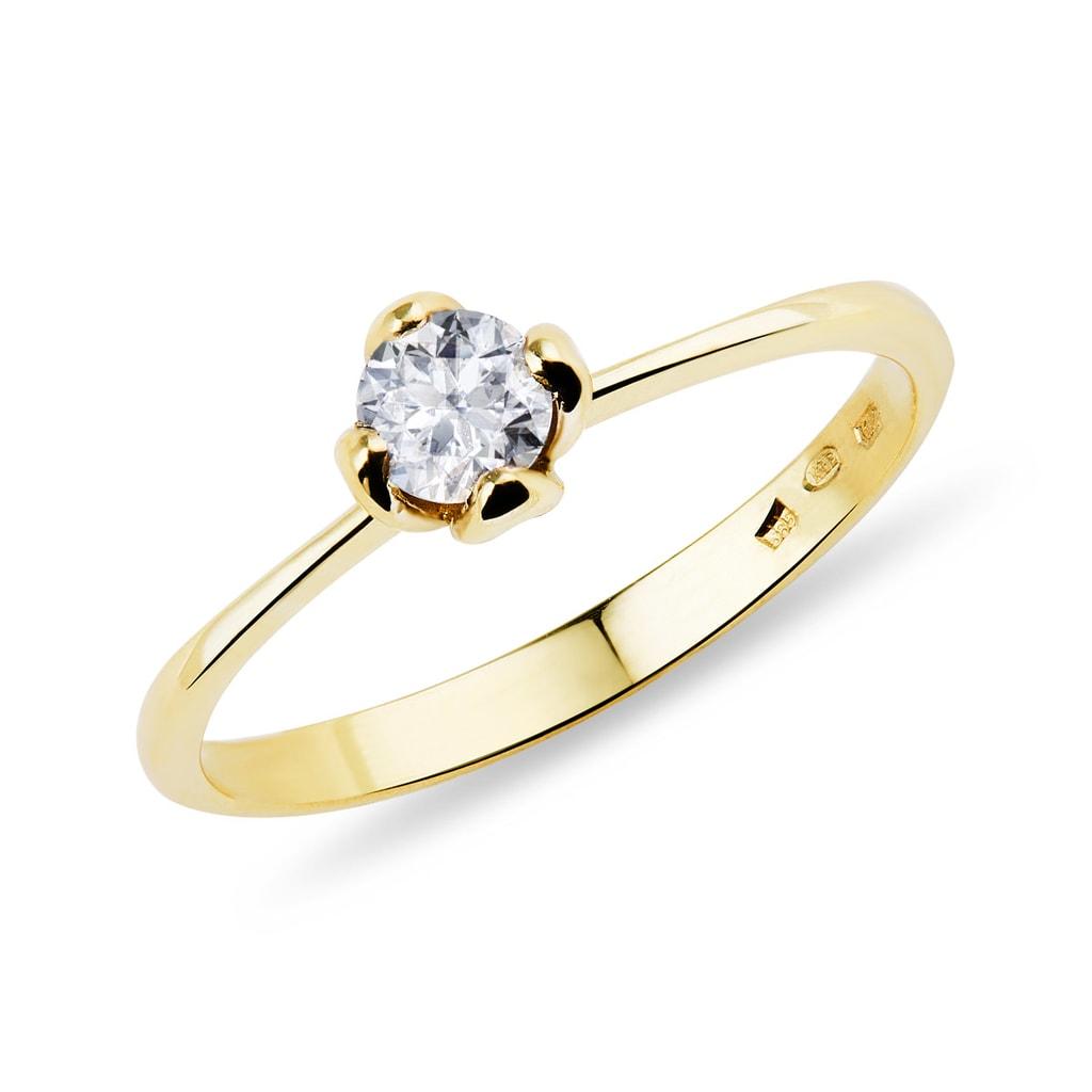 6fc820b5d Zlatý zásnubný prsteň s diamantom | KLENOTA