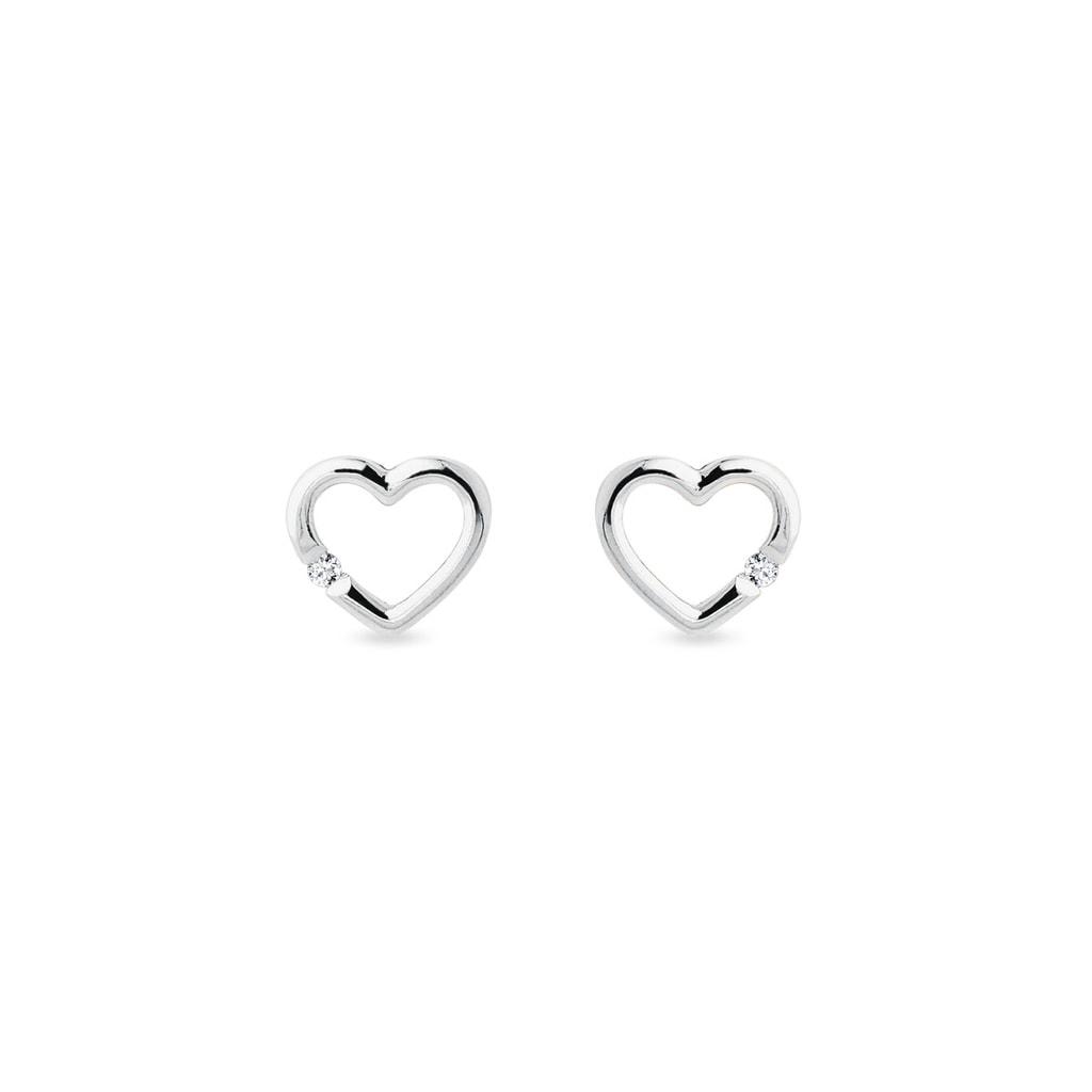 Diamond Heart Earrings In White Gold Klenota
