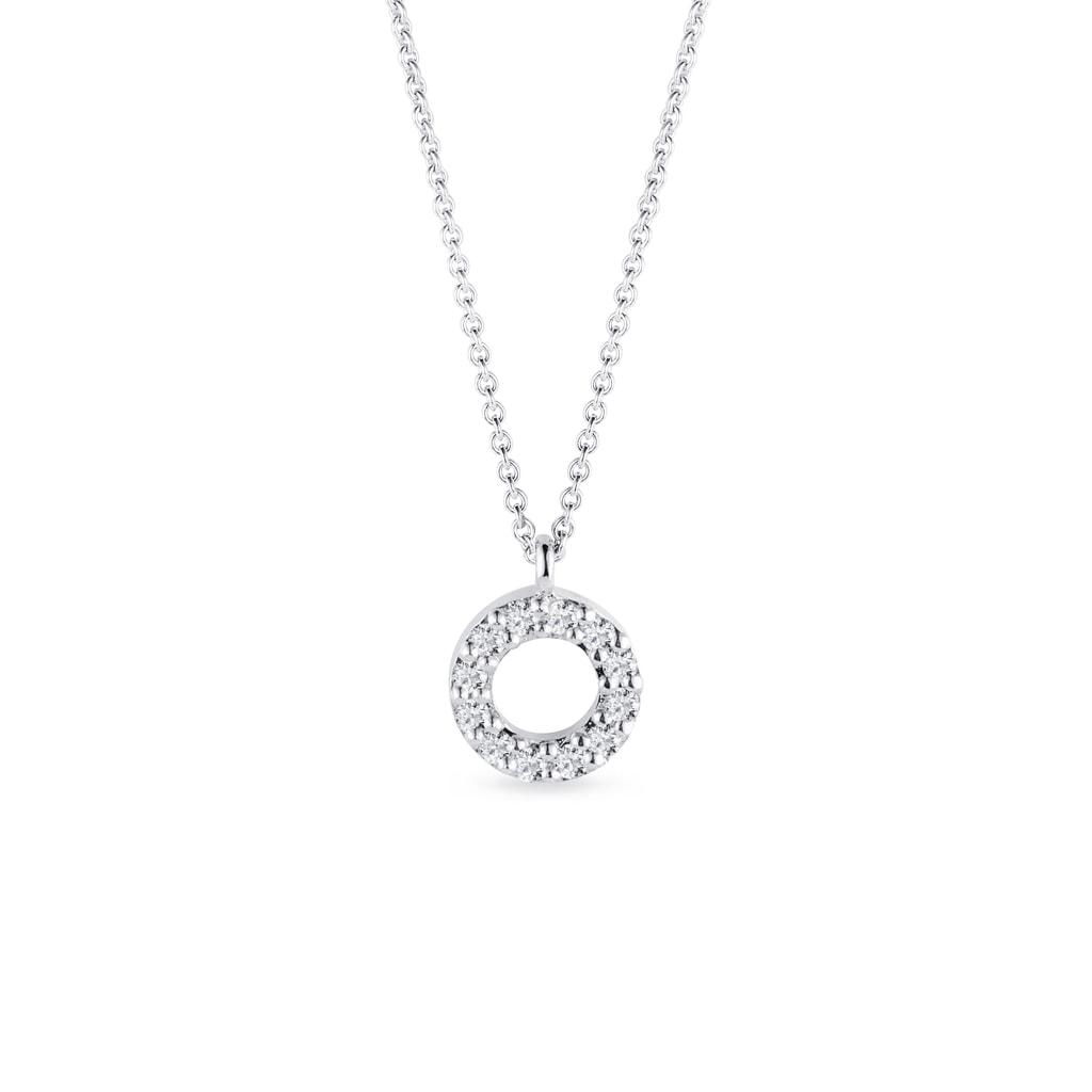 62ec15537 Kruhový náhrdelník z bílého zlata s diamanty   KLENOTA