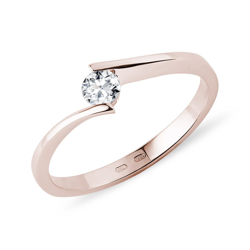 Rose Gold Engagement Ring With A Diamond Klenota