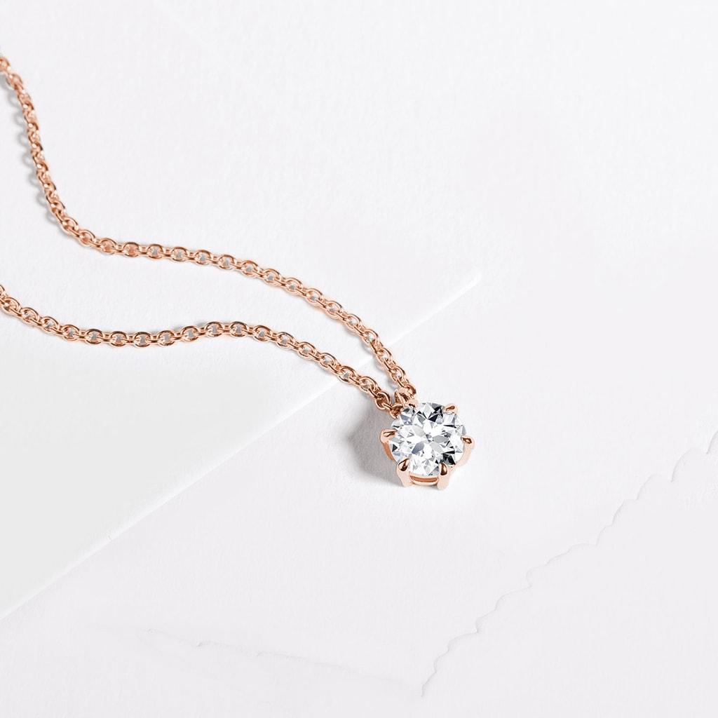 baabcc879 Luxusní přívěsek s briliantem v růžovém zlatě | KLENOTA