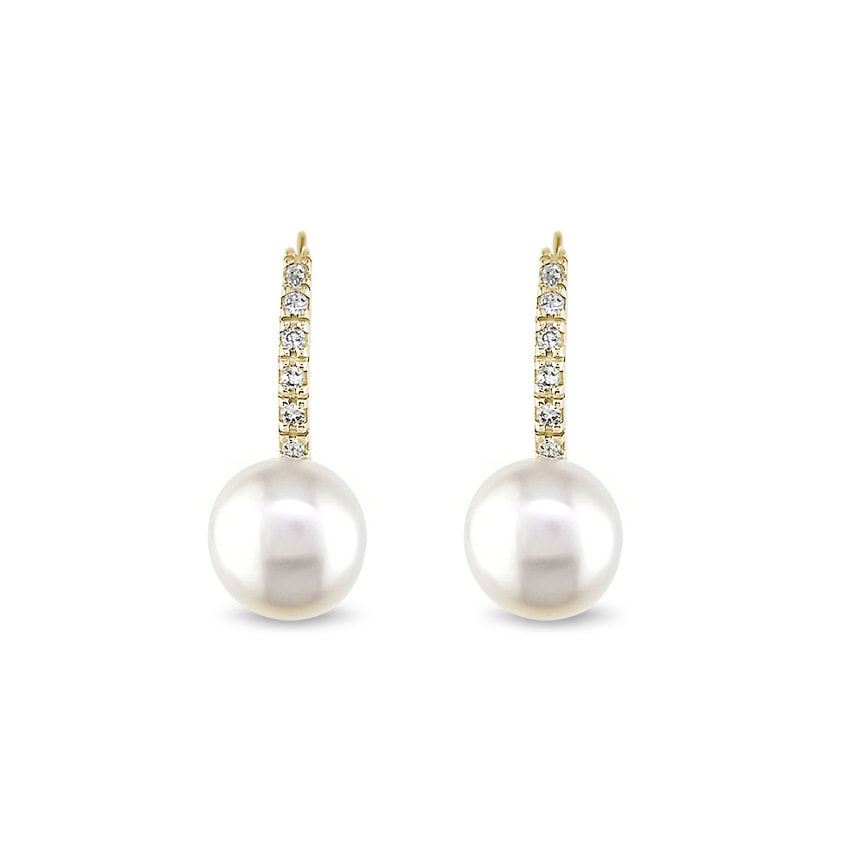 d2cbfc31e Diamantové zlaté náušnice s perlami   KLENOTA