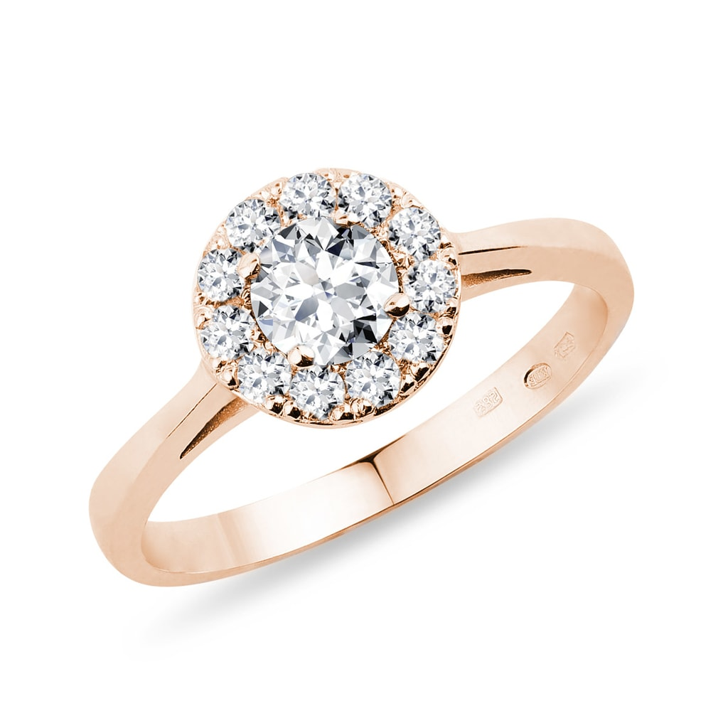 ca19b5cf875754 Pierścionek zaręczynowy z brylantem z różowego złota | KLENOTA