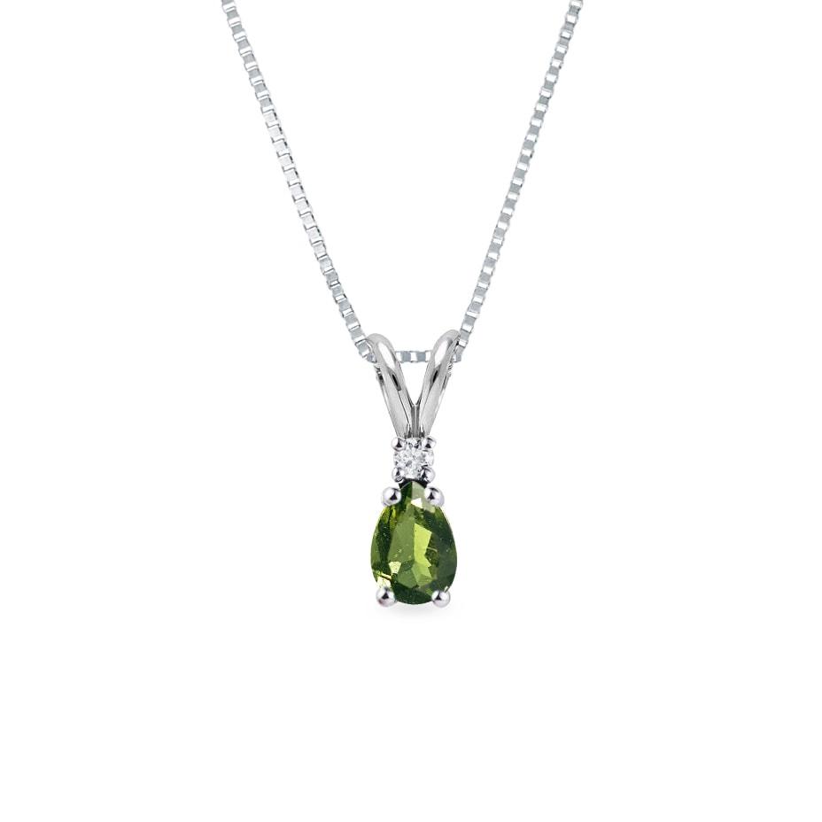 Diamond and moldavite pendant in white gold
