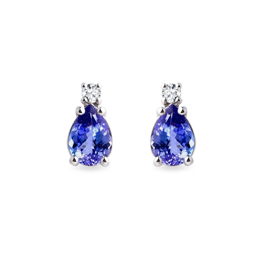 23998ba1fc52e6 Złote kolczyki z diamentem i tanzanitem | KLENOTA