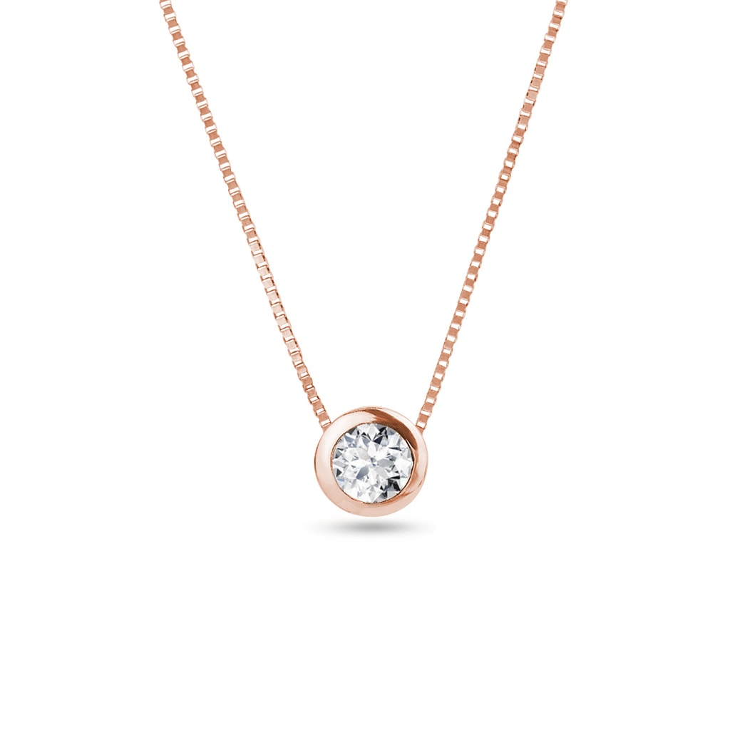 Diamond Pendant Necklace In Rose Gold Klenota