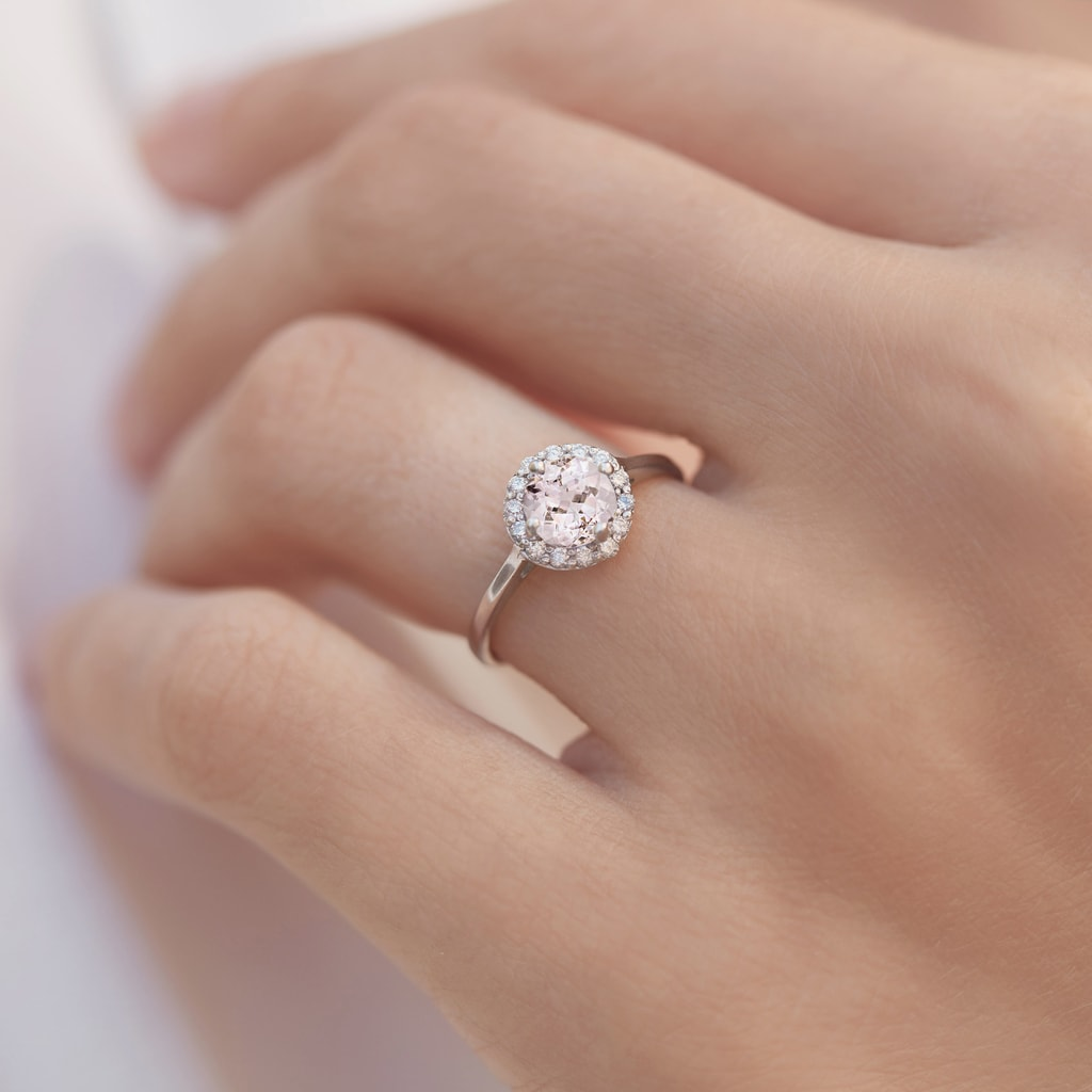 bague or blanc morganite