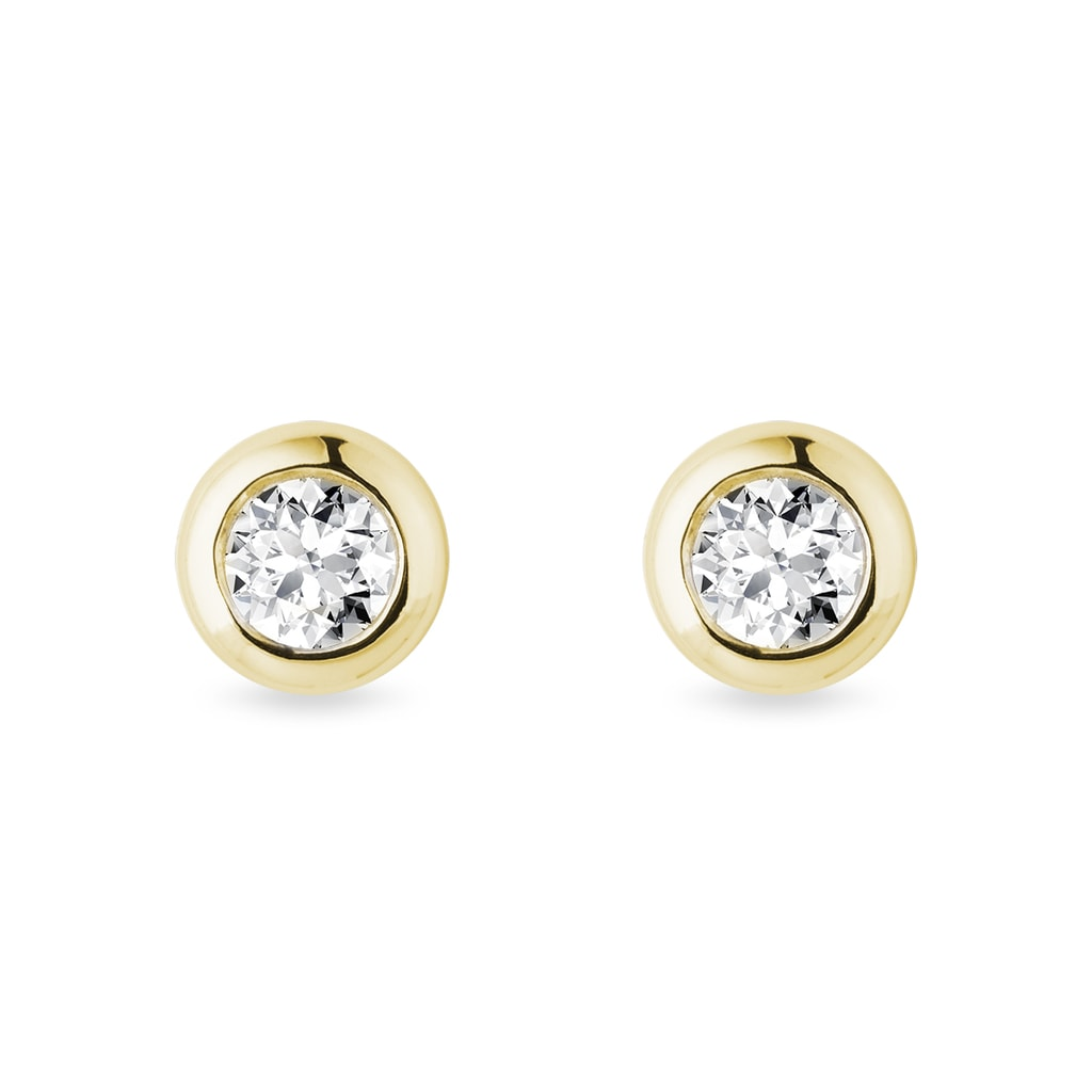4 Mm Bezel Diamond Earrings In Yellow Gold Klenota