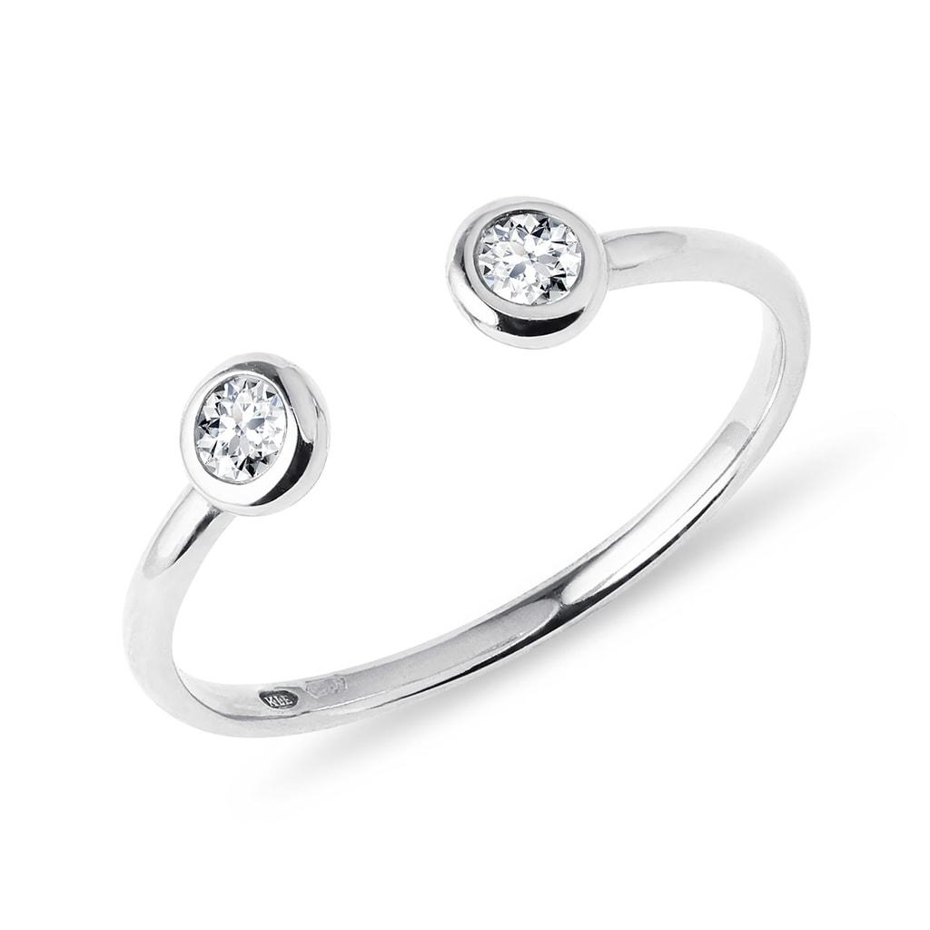 sélectionner pour plus récent divers styles meilleure vente Bague ouverte en or blanc et deux diamants