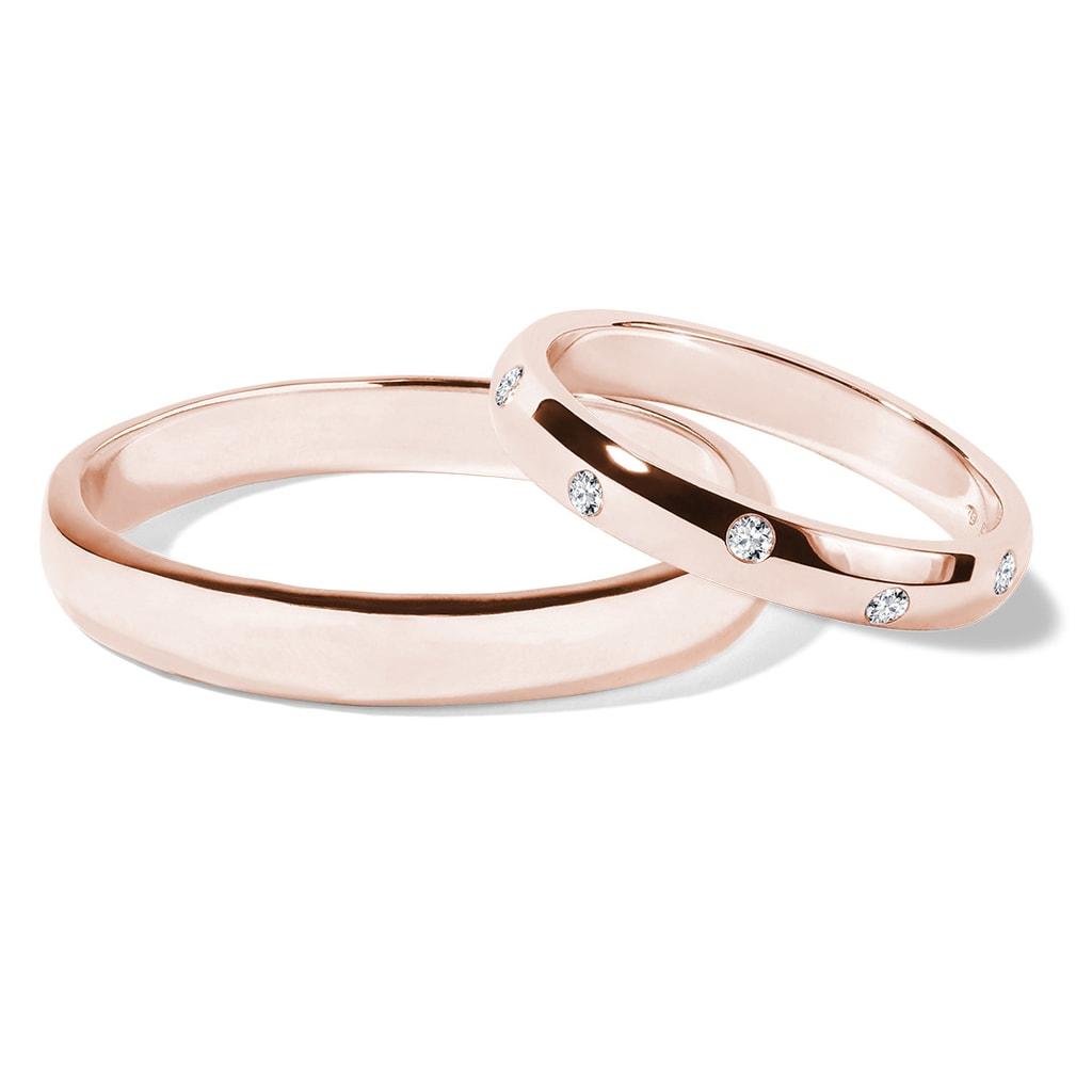 Wedding Ring Set With Diamonds In Rose Gold Klenota