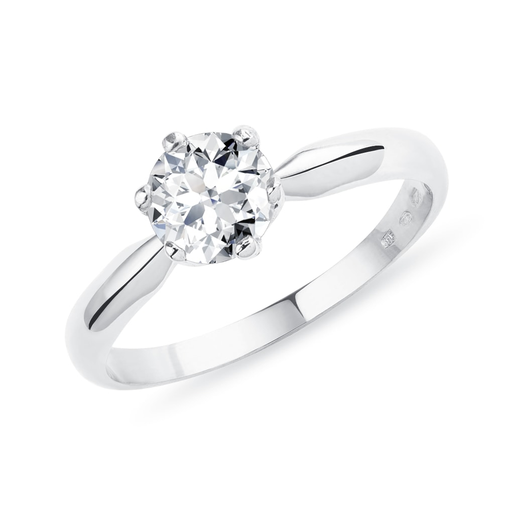 947989b28 Luxusný zásnubný prsteň z bieleho zlata s briliantom | KLENOTA