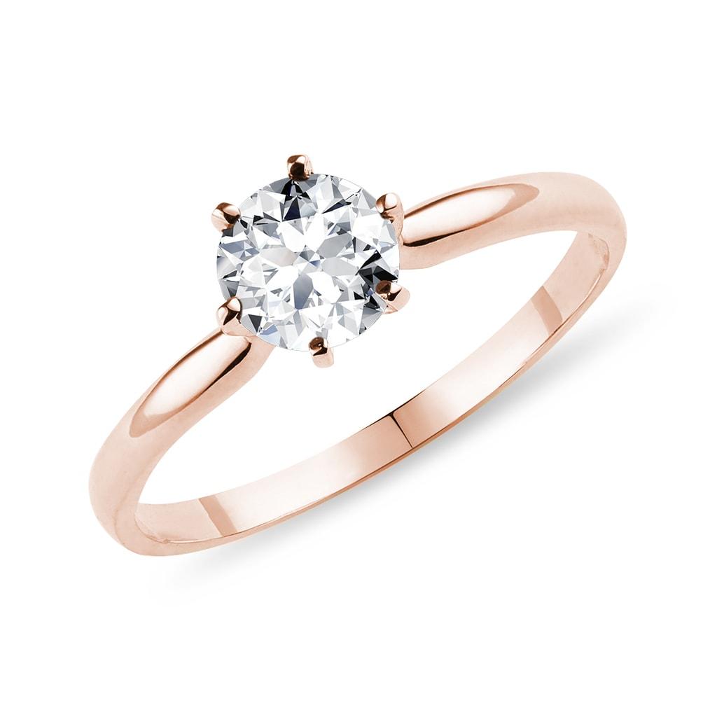 7d53771eb1917a Pierścionek zaręczynowy z brylantem w różowym złotem | KLENOTA
