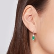 EMERALD AND DIAMOND EARRINGS IN 14KT GOLD - EMERALD EARRINGS - EARRINGS