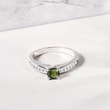 Moldavite and diamond ring in white gold