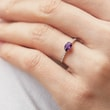 Amethyst and diamond ring in white gold